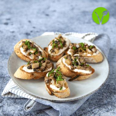 Crostinis vegan aux endives & champignons poêlés